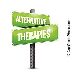 terapias alternativas, ilustración, señal