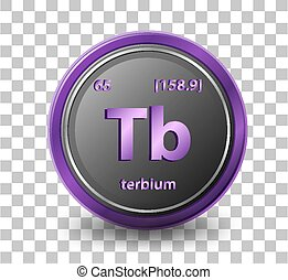 Terbium chemical element. Chemical symbol with atomic number and atomic mass.
