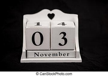 tercero, 3, cubos, noviembre, 3, calendario
