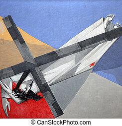 tercero, estaciones, jesús, cruz, 9, tiempo, bajas