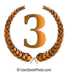 tercero, premio, laurel, cobre, 3d