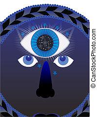 tercero, psíquico, ojo, ilustración