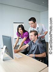 tercet, komputer, dynamiczny, pracujący, desktop