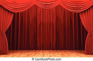 terciopelo, apertura, escena, vector, cortina, rojo