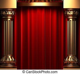 terciopelo, atrás, columnas, oro, cortinas, rojo