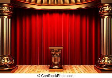 terciopelo, oro, cortinas, pedestal, columnas, rojo