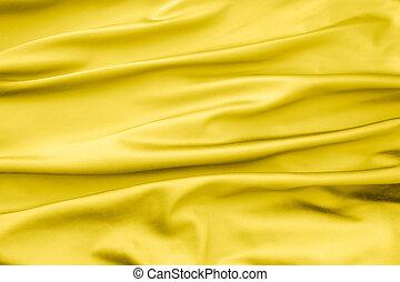 terciopelo, tela, pliegues, amarillo, pedazo, suave