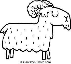 terco, línea, goat, caricatura, dibujo