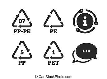 terephthalate., animal estimação, polietileno, pp-pe, pp.,...