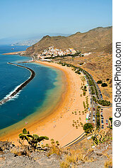 Teresitas Beach in Tenerife, Canary Islands, Spain - A view...