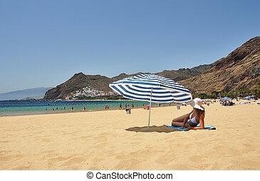 teresitas., la, plage, de, scene., playa, tenerife, canaris