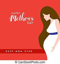 terhes, árajánlatot tesz, anyák, ábra, anyu, nap, boldog