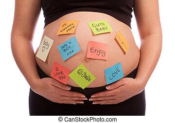 terhes, kaukázusi, nő, noha, hangjegy