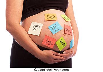terhes, kaukázusi, nő, noha, kellemetlen hangjegy, képben látható, has