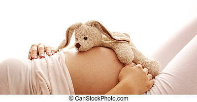 terhes nő, képben látható, egy, white háttér