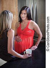 terhes nő, noha, barát