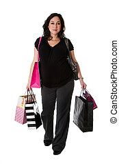 terhes nő, noha, bevásárol táska