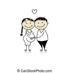 terhesség, várakozás, szülők, csecsemő, boldog