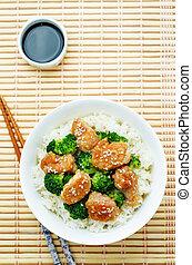teriyaki, friggere, pollo, riso, mescolare, broccolo