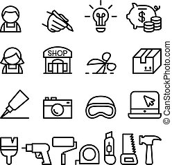 termék, állhatatos, hajó, tervezés, híg, kézműves, egyenes, ikon, mód, diy