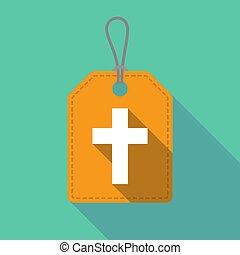 termék, keresztény, kereszt, hosszú, címke, árnyék