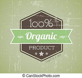 termék, szerves, szüret, címke, öreg, vektor, retro, grunge