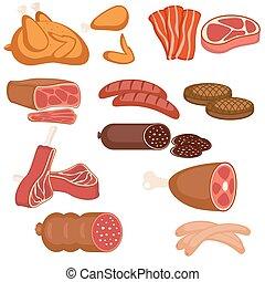 termékek, hús, állhatatos