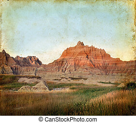 terméketlen vidék, hegyek, képben látható, egy, grunge, háttér