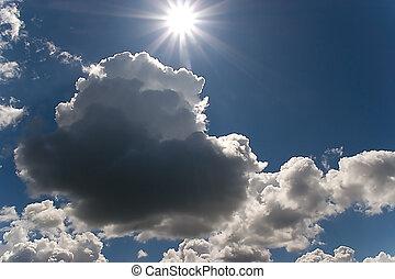természet, ég, és, nap