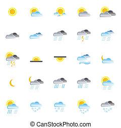 természet, és, időjárás, ikonok