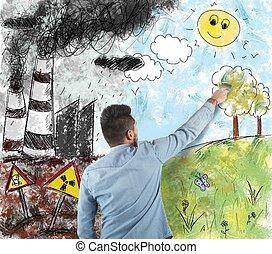 természet, és, szennyezés
