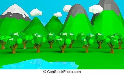természet, elvont, poly, alacsony, háttér, táj