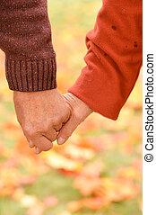 természet, emberek, két, ősz, hatalom kezezés