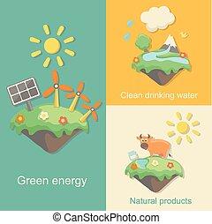 természet, vektor, termékek, kitakarít, ivás, zöld, energia, fogalom, víz