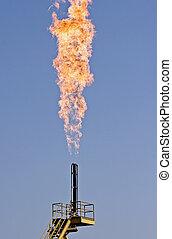 természetes, égető, fellobbanás, -, gáz, szennyezés