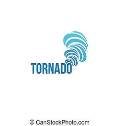 természetes csapás, tornádó, elszigetelt, levegő, logotype., fonás, vektor, időjárás becsül, logo., element., illustration.