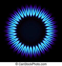 természetes, flame., gáz