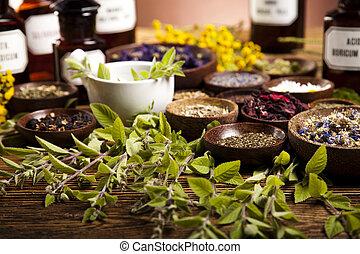 természetes orvosság, hangsúly, színes, habarcs
