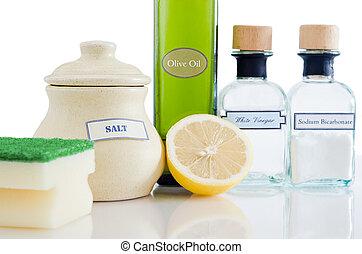 természetes, termékek, takarítás, non-toxic