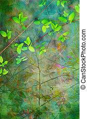 természetes, zöld, művészi, háttér, grunge, gyönyörű