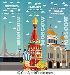 természetjáró, banners., moszkva, épület., ábra, határkő, híres, vektor, orosz, concept., oroszország, utazás