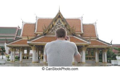 természetjáró, buddhista, fiatal, fénykép, bangkok, ember, halánték, hátsó kilátás