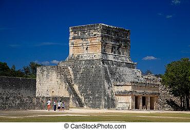 természetjáró, ez, mexico:, látogató, itza, varázs, feb, 2009, 19, chichen, tető, mexikó
