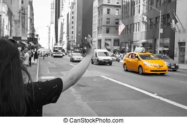 természetjáró, hívás, egy, sárga taxizik, alatt, manhattan, noha, jellegzetes, gesztus
