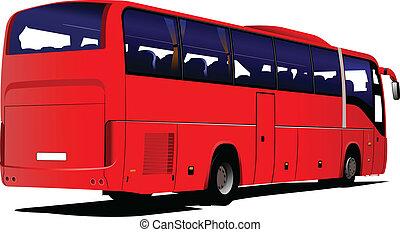 természetjáró, vektor, bus., il, coach., piros