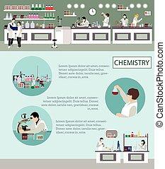 természettudós, dolgozó, alatt, laboratórium, vektor, illustration., tudomány labor, interior., kémia, oktatás, concept.