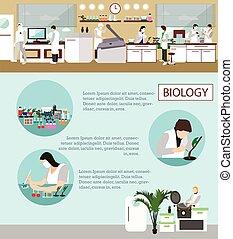 természettudós, dolgozó, alatt, laboratórium, vektor, illustration., tudomány labor, interior., biológia, oktatás, concept.