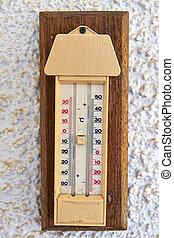 termómetro al aire libre, con, centígrado, y, fahrenheit,...