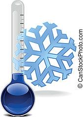 termómetro, con, copo de nieve