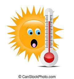 termómetro, con, sol 2